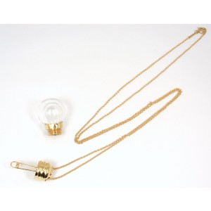 Tiffany & Co. Peretti 18K Yellow Gold with Rock Crystal Light Bulb Perfume Holder Necklace