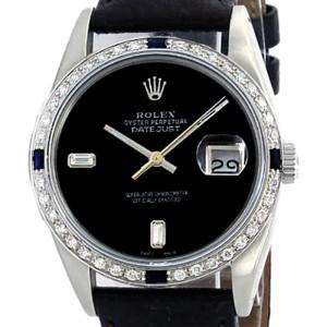 Rolex Datejust 16014 Stainless Steel & Black Diamonds Dial 36mm Mens Watch