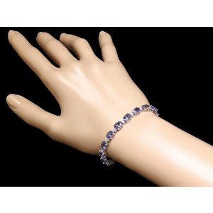 14K White Gold with 14ctw Tanzanite and 0.9ctw Diamond Bracelet