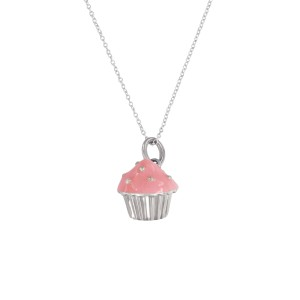Tiffany & Co. 925 Sterling Silver Pink Cupcake Charm Necklace