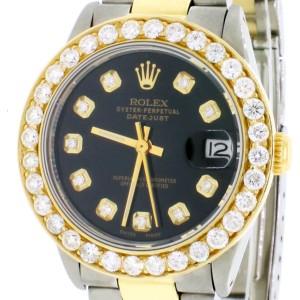 Rolex Datejust Midsize 2-Tone 18K/SS 31mm Automatic Oyster Watch with Black Diamond Dial & 18K Diamond Bezel 6824