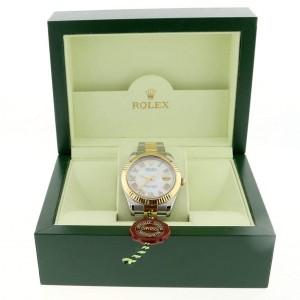 Rolex Datejust II 2-Tone 18K Yellow Gold/Stainless Steel 41MM Mens Oyster Watch w/Roman Diamond MOP Dial 116333