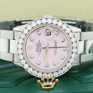 Rolex Datejust Midsize 31mm Steel Oyster Watch w/2.25Ct Diamond Bezel & Pink MOP Dial