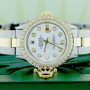 Rolex Datejust Ladies 2-Tone Gold/Steel 26MM Automatic Oyster Watch w/MOP Diamond Dial & Bezel