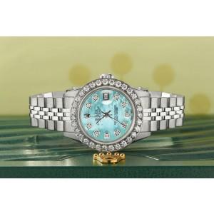 Rolex Datejust Steel 26mm Jubilee Watch Aquamarine 1.3CT Diamond Bezel & Dial