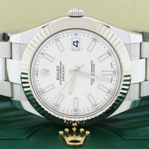 Rolex Datejust II 18K White Gold Fluted Bezel Factory Silver Stick Dial 41MM Steel Oyster Mens Watch 116334