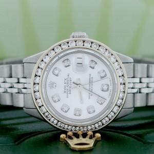 Rolex Datejust Ladies 26MM Automatic Stainless Steel Jubilee Watch w/Silver Diamond Dial & Bezel