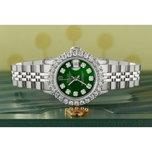 Rolex Datejust Steel 26mm Jubilee Watch 2CT Diamond Bezel / Royal Green MOP Dial