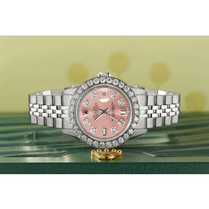 Rolex Datejust Steel 26mm Jubilee Watch Salmon 1.3CT Diamond Bezel & Dial