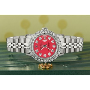 Rolex Datejust Steel 26mm Jubilee Watch 2CT Diamond Bezel / Scarlet Red Dial