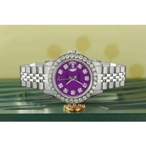 Rolex Datejust Steel 26mm Jubilee Watch Dark Purple 1.3CT Diamond Bezel & Dial