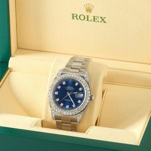 Rolex Datejust II Steel 41mm Watch 4.5CT Diamond Bezel/Lugs/Royal Blue Dial Box Papers