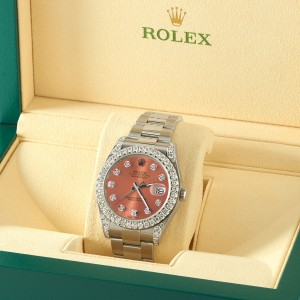Rolex Datejust II Steel 41mm Watch 4.5CT Diamond Bezel/Lugs/Royal Salmon Dial Box Papers