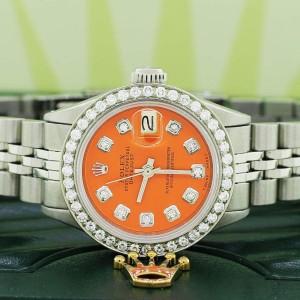 Rolex Datejust Ladies Automatic Stainless Steel 26mm Jubilee Watch w/ Orange Dial Diamond Bezel