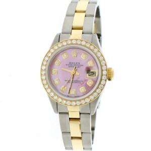 Rolex Datejust Ladies 2-Tone 18K Yellow Gold/Steel 26MM Oyster Watch w/Island Pink Diamond MOP Dial & Bezel