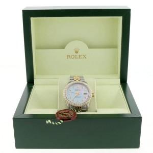 Rolex Datejust 2-Tone 18K Yellow Gold/Stainless Steel Jubilee Watch 36MM 16013 w/Purple MOP Diamond Dial & 2.7CT Bezel