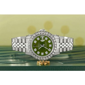 Rolex Datejust Steel 26mm Jubilee Watch Royal Green 1.3CT Diamond Bezel & Dial