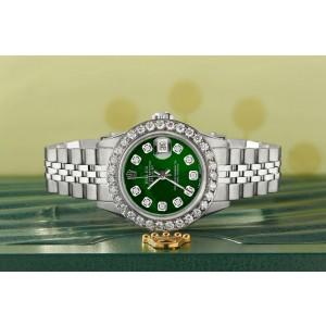 Rolex Datejust Steel 26mm Jubilee Watch Green MOP 1.3CT Diamond Bezel & Dial