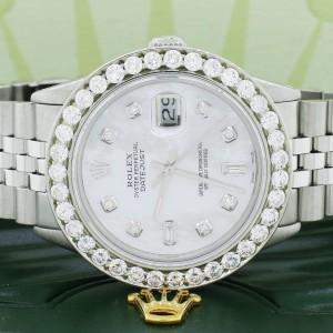Rolex Datejust 36mm SS Automatic Jubilee Watch w/MOP Diamond Dial & 3.65Ct Bezel