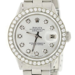 Rolex Datejust Ladies Automatic Stainless Steel 26mm Oyster Watch with Silver Diamond Dial & Bezel