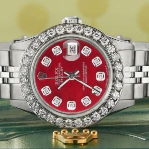 Rolex Datejust Steel 26mm Jubilee Watch Candy Red MOP 1.3CT Diamond Bezel & Dial