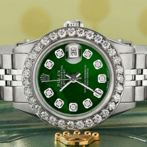 Rolex Datejust Steel 26mm Jubilee Watch Green MOP 1.3CT Diamond Bezel & Dial (Copy)