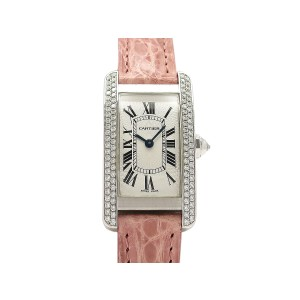 Cartier Tank Americaine WB701851 Leather 35mm x 19mm Womens Watch