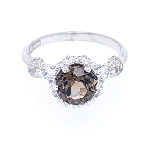 Tacori 18k White Gold 7mm Smoky Quartz & Diamond Ring