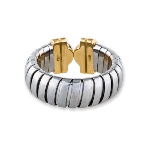 Bulgari Parentesi 18K White and Yellow Gold 0.35ctw Diamond Ring Size 5.75