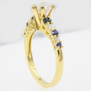 18K Yellow Gold with 0.62ct Diamond and Sapphire Engagement Ring Size 6