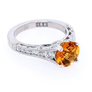 Tacori Reverse Present 18k White Gold 8mm Round Citrine & Diamonds Ring
