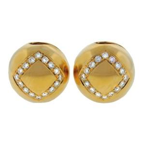 Vintage Bulgari 18K Yellow Gold Diamond Clip Earrings