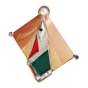 Vintage Arent & Van Leeuw Diamond Sapphire Enamel Silver Gold Pin Brooch