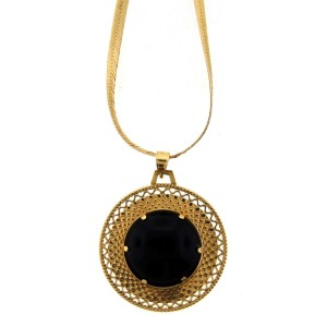14K Yellow Gold & Onyx Necklace