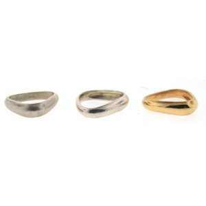 Sterling Silver & 14K Yellow Gold Trio of Rings