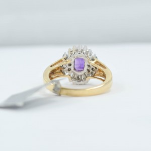 14K Yellow Gold Baguette Amethyst Ring