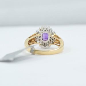 14K Yellow Gold Baguette Amethyst Ring