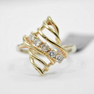 14K Yellow Gold Genuine G-color Diamond Cluster Cocktail Ring