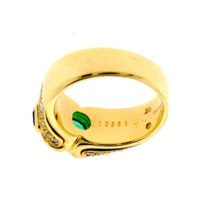 Marina B. Diamond, Emerald & Sapphire 18K Yellow Gold Ring Size 5.75
