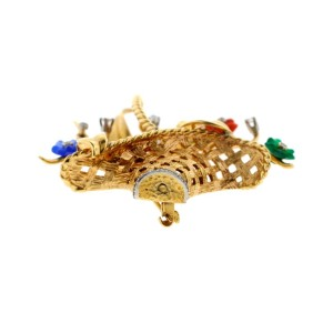 14K Yellow Gold, Coral, Sapphire, Emerald, Amethyst & Diamond Flower Brooch