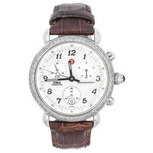 Michele CSX MW03C01A1023 Chronograph 0.60Ct Date Leather Band Ladies' Watch