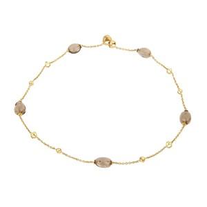 Di Modolo 18K Yellow Gold with Smokey Quartz Oval Beads Necklace