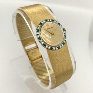 CORUM Mechanical 24mm 18K White & Yellow Gold FACTORY Diamonds & Emeralds Watch