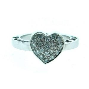 18K White Gold & Diamond Heart Ring
