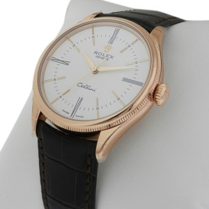 Rolex Cellini Time 50505 39mm 18K Rose Gold White Lacquer Dial Watch