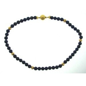 18K Yellow Gold & Lapis Bead Necklace