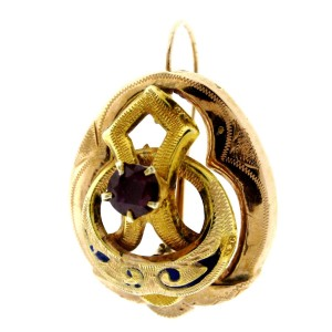 14K Yellow Gold, Ruby & Enamel Earrings