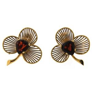 18K Yellow Gold & Garnet Earrings