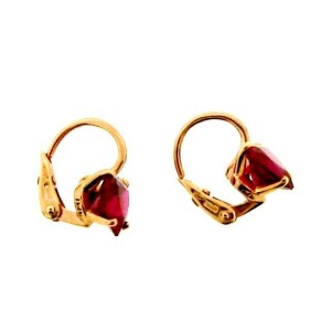18K Pink Gold & Synthetic Ruby Heart Earrings
