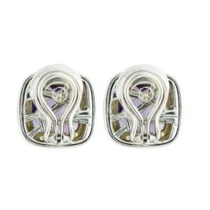 David Yurman Albion 18K Yellow Gold Sterling Silver Amethyst Earrings